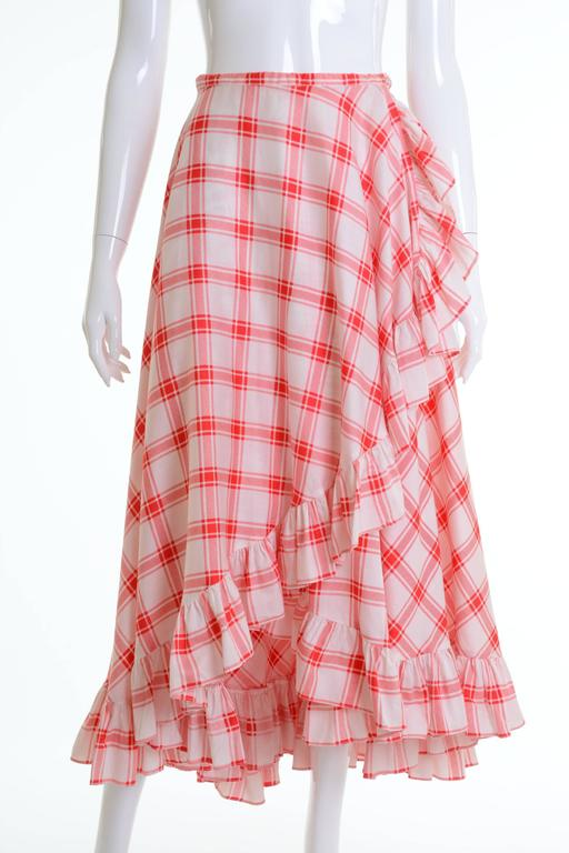 1970s SAINT LAURENT Rive Gauche Gypsy Skirt & Scarf Set  In Excellent Condition For Sale In Milan, Italy