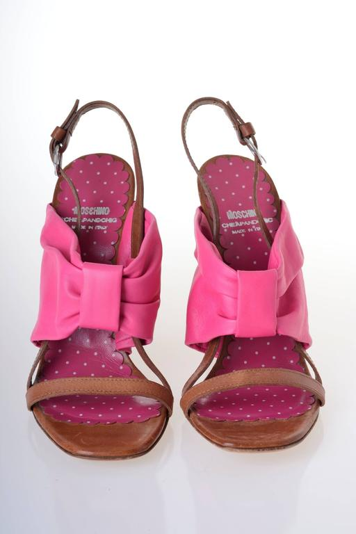 MOSCHINO Cheap & Chic Fuchsia Bow Wedge Sandals 2