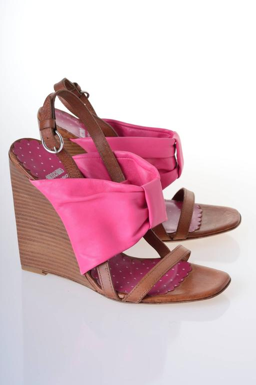 MOSCHINO Cheap & Chic Fuchsia Bow Wedge Sandals 4