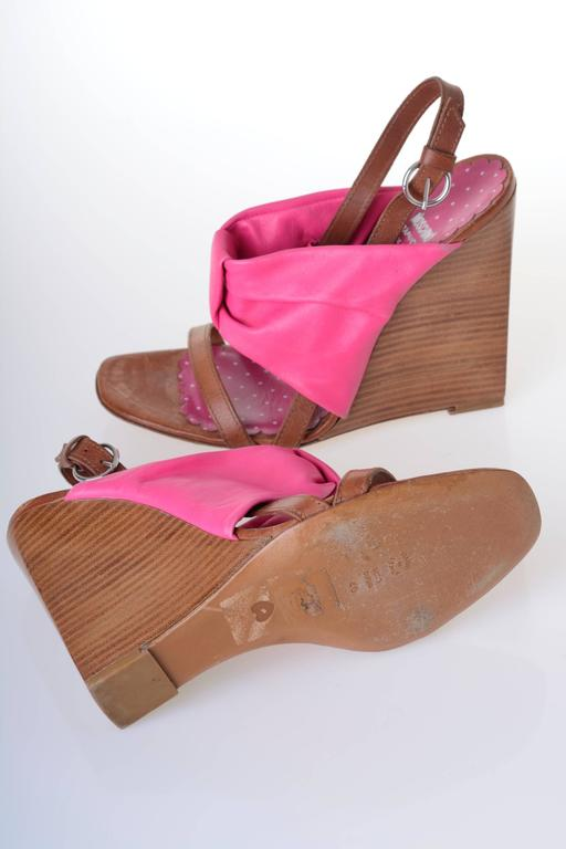 MOSCHINO Cheap & Chic Fuchsia Bow Wedge Sandals 5