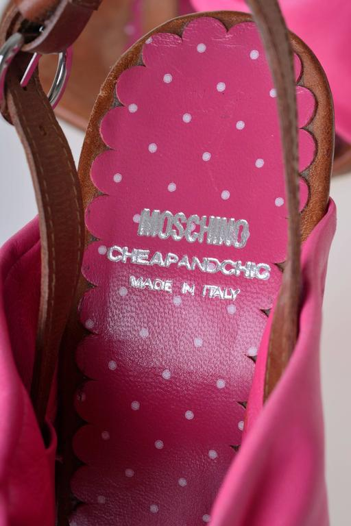 MOSCHINO Cheap & Chic Fuchsia Bow Wedge Sandals 6