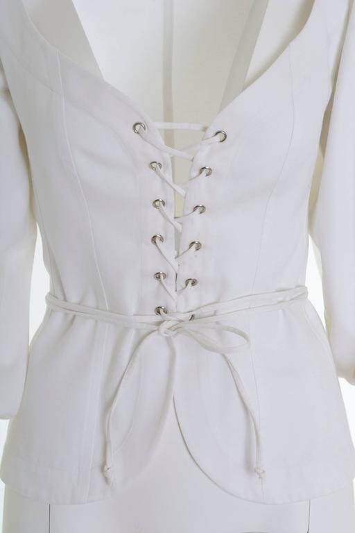 Gray 1990s Yves Saint Laurent Rive Gauche White Peasant Blouse For Sale