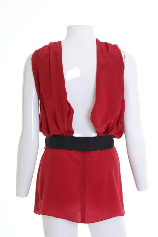 VIONNET Red Draped Mini Dress Blouse In Excellent Condition For Sale In Milan, Italy