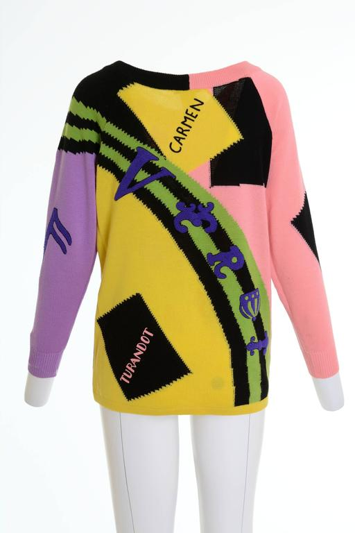 "1980s GIANNI VERSACE ""Opera"" Printed Embroidered Sweater Pullover 2"