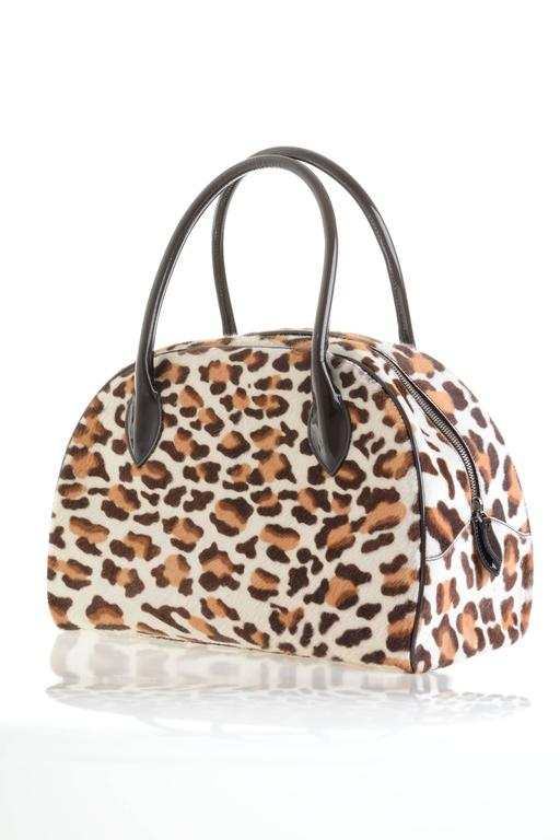 Brown Alaia Pony Hair Leopard Print Tote Bag For Sale