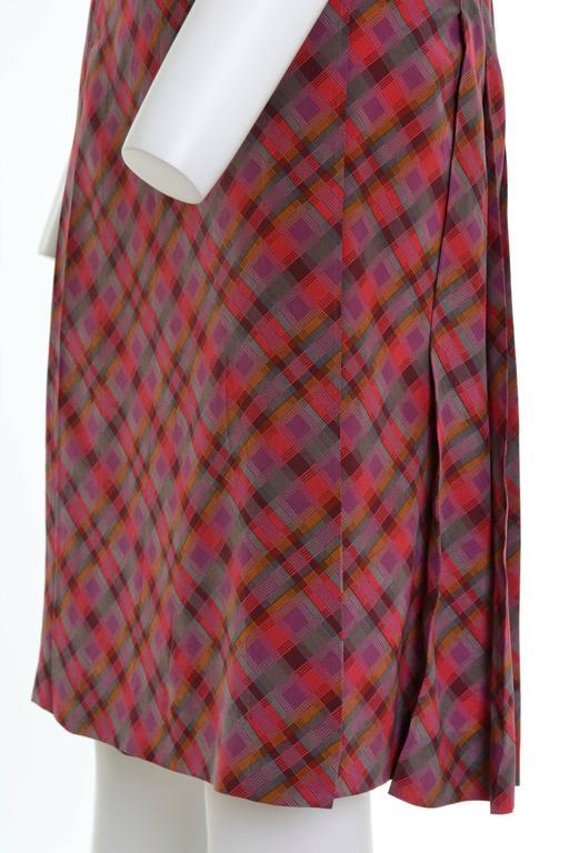 Brown 1980s YVES SAINT LAURENT Rive Gauche Pleateds Silk Skirt For Sale