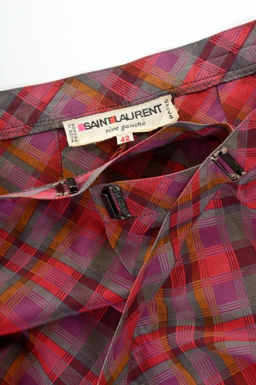 Women's 1980s YVES SAINT LAURENT Rive Gauche Pleateds Silk Skirt For Sale