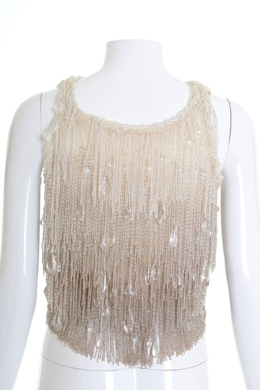 1920s Antique Cream Shades Beadeds Fringe Top Blouse 2