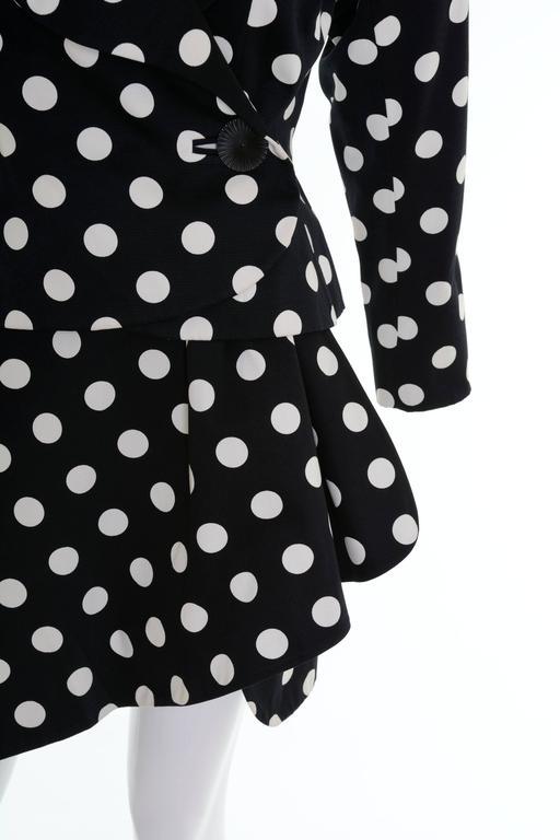 Women's 1990s YVES SAINT LAURENT Rive Gauche Black Polka Dots Suit Skirt For Sale