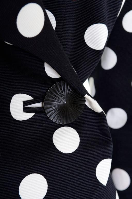 1990s YVES SAINT LAURENT Rive Gauche Black Polka Dots Suit Skirt For Sale 1