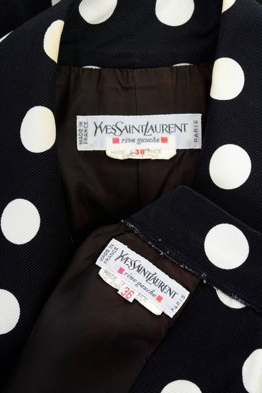 1990s YVES SAINT LAURENT Rive Gauche Black Polka Dots Suit Skirt For Sale 2