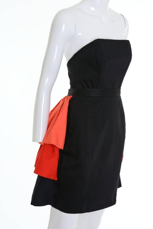 Women's 1980s YVES SAINT LAURENT Rive Gauche Black and Orange Flounced Suit Skirt For Sale