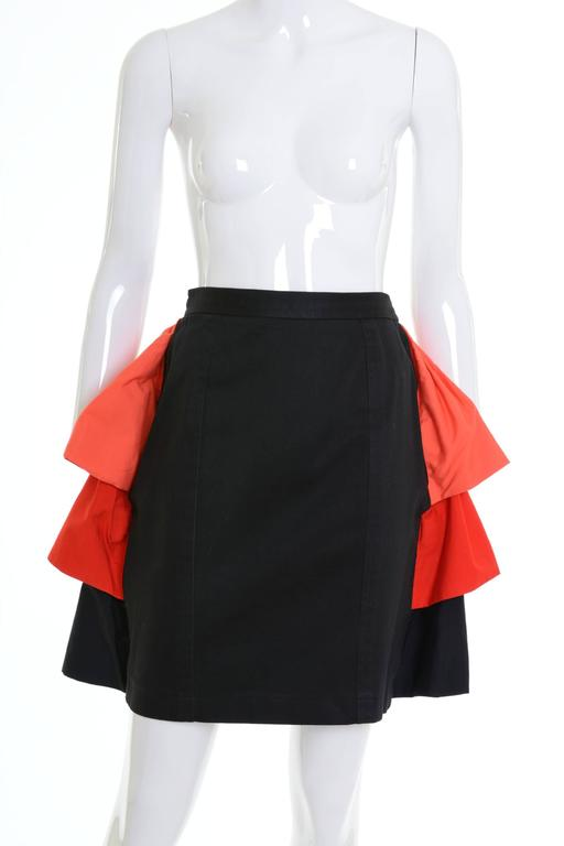 1980s YVES SAINT LAURENT Rive Gauche Black and Orange Flounced Suit Skirt For Sale 2