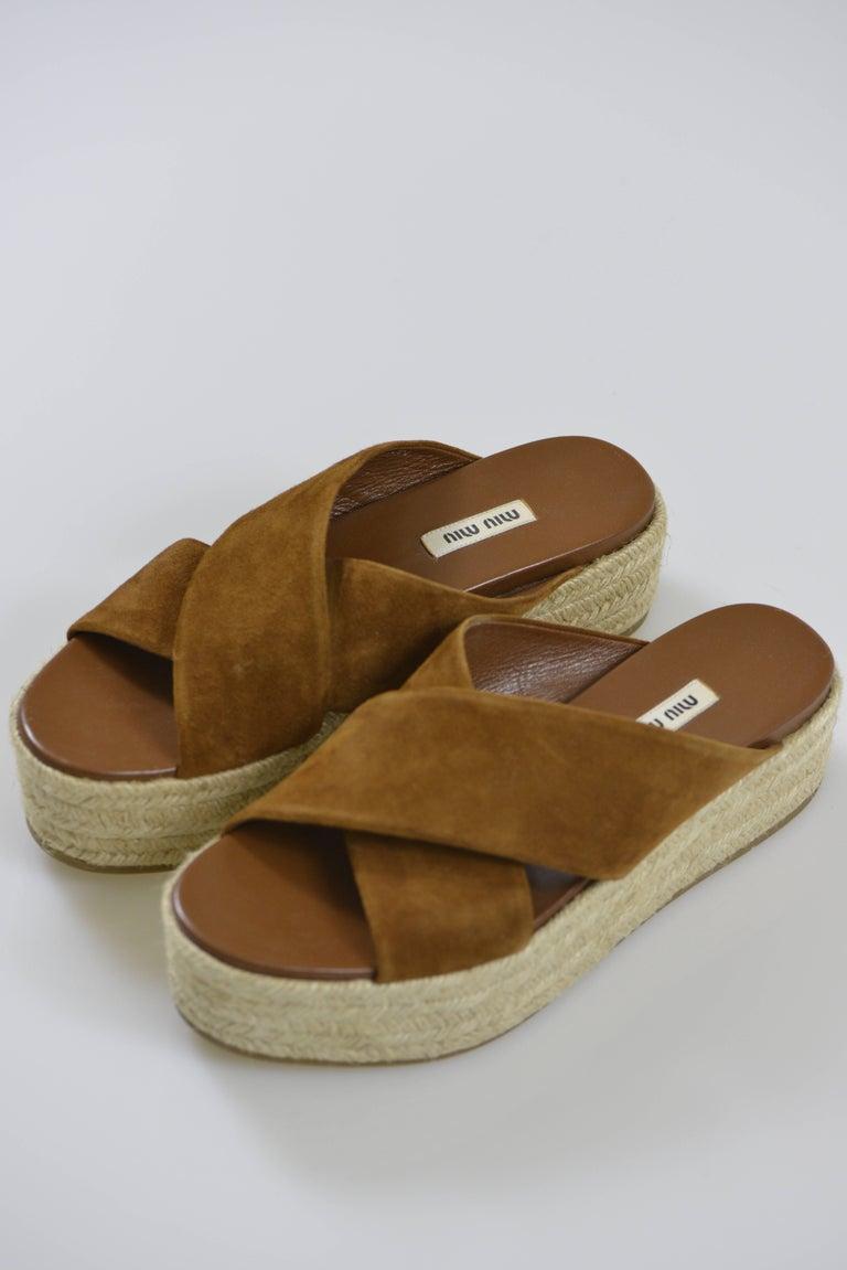 MIU MIU PRADA Brown Suede Leather Espadrille Platform Sandals Mules 2