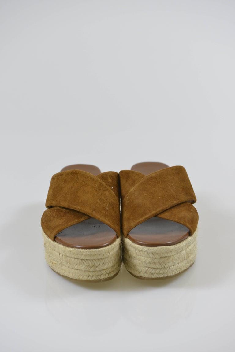 MIU MIU PRADA Brown Suede Leather Espadrille Platform Sandals Mules 3