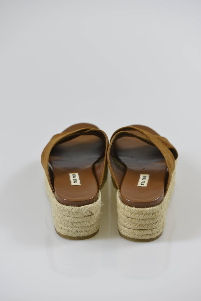 MIU MIU PRADA Brown Suede Leather Espadrille Platform Sandals Mules 4