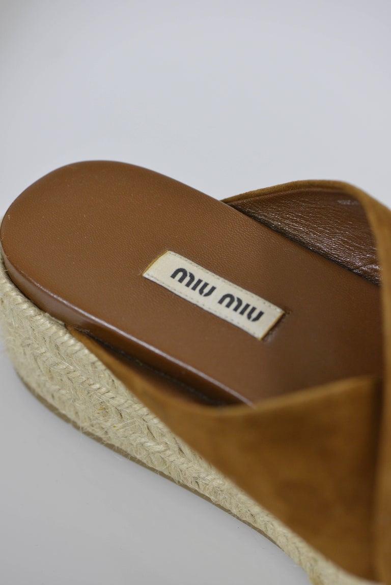 MIU MIU PRADA Brown Suede Leather Espadrille Platform Sandals Mules 5