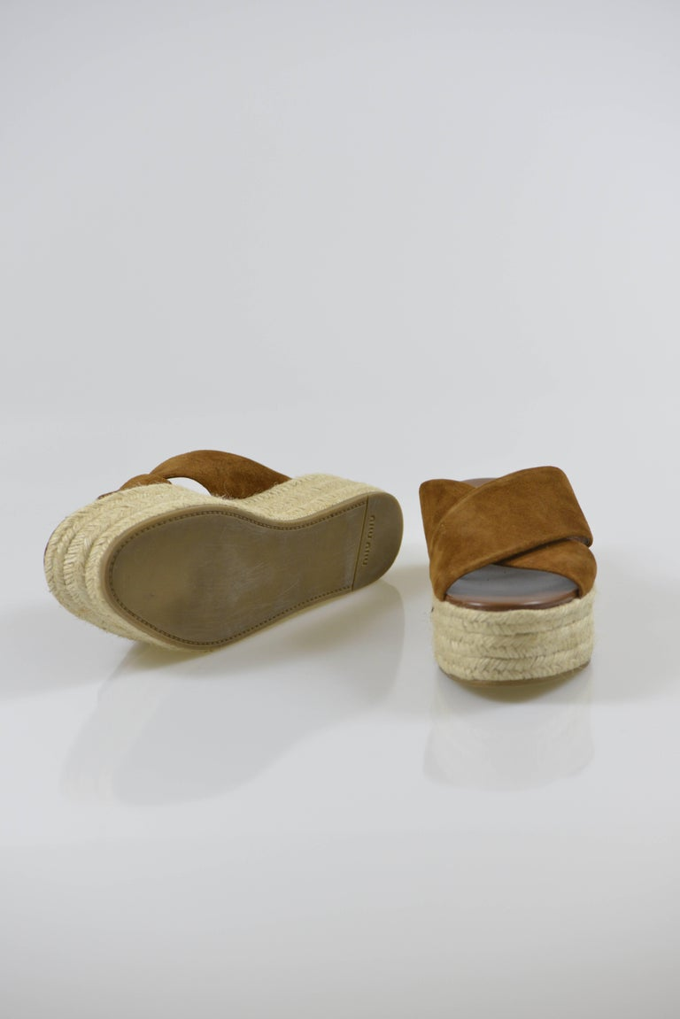 MIU MIU PRADA Brown Suede Leather Espadrille Platform Sandals Mules 6