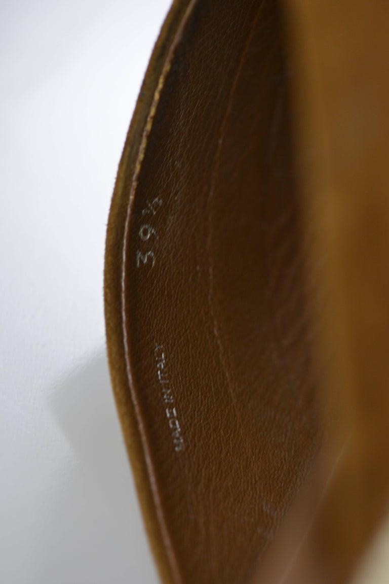 MIU MIU PRADA Brown Suede Leather Espadrille Platform Sandals Mules 7