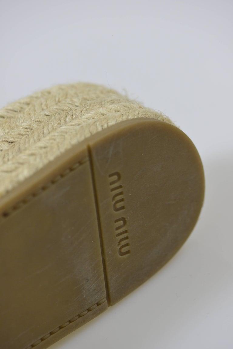 MIU MIU PRADA Brown Suede Leather Espadrille Platform Sandals Mules 8