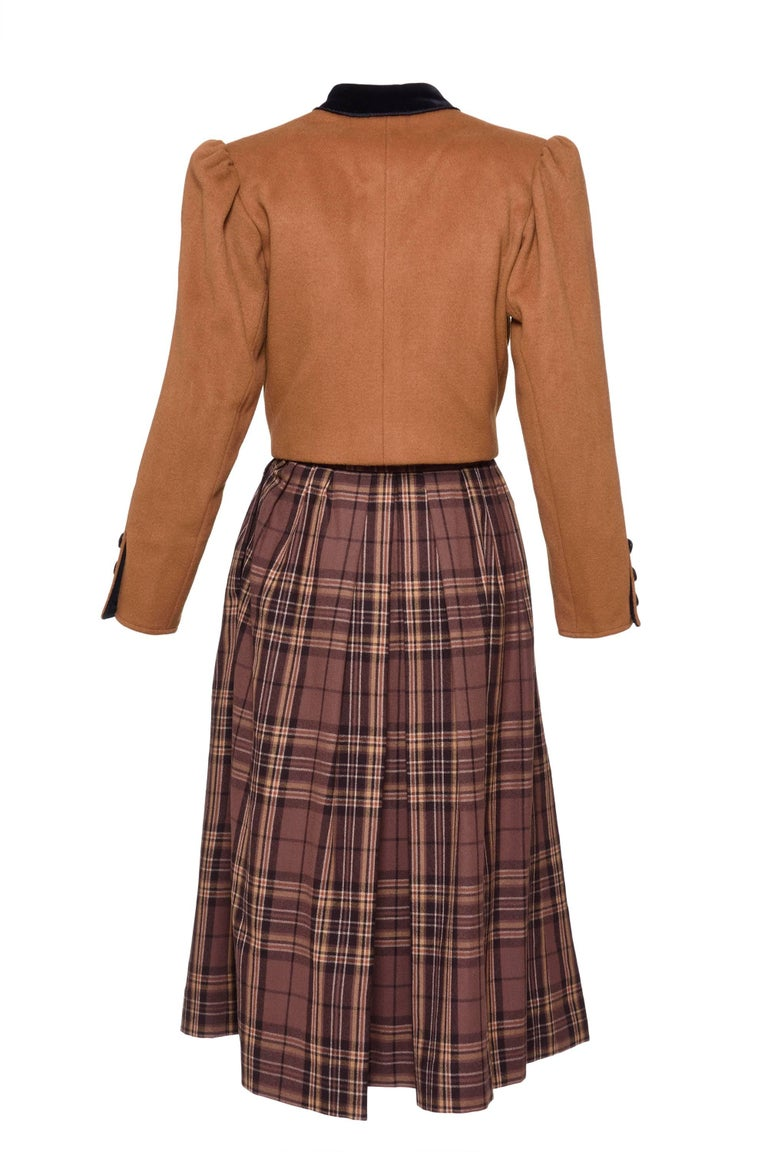 1980s YVES SAINT LAURENT Rive Gauche Tartan and Velvet Brown Suit Skirt  2
