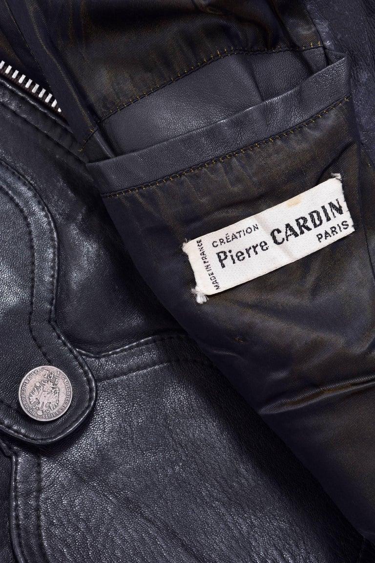 1960s PIERRE CARDIN Dark Green Leather Jacket  4