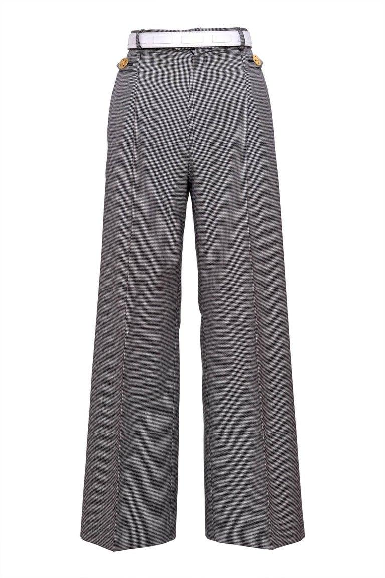 Gray 1980s YVES SAINT LAURENT Rive Gauche Pied De Poule Cotton Suit Pants  For Sale