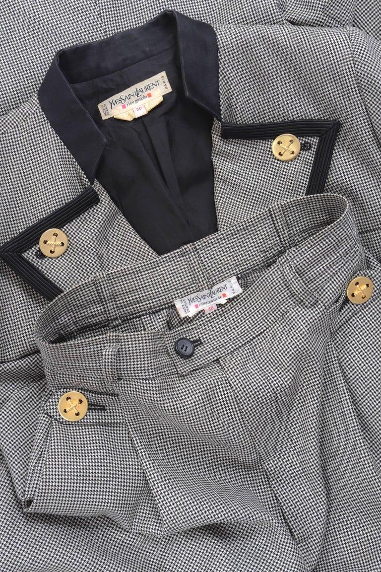 1980s YVES SAINT LAURENT Rive Gauche Pied De Poule Cotton Suit Pants  In Good Condition For Sale In Milan, IT