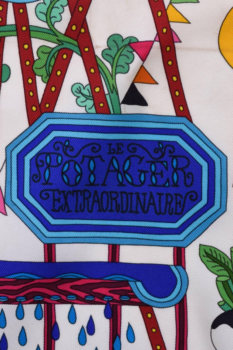 "HERMES ""Le Potager Extraordinaire"" Silk Scarf  4"