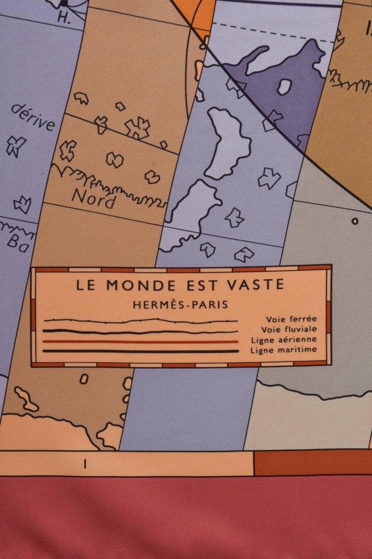"HERMES ""Le Monde est Vaste"" Silk Scarf  5"
