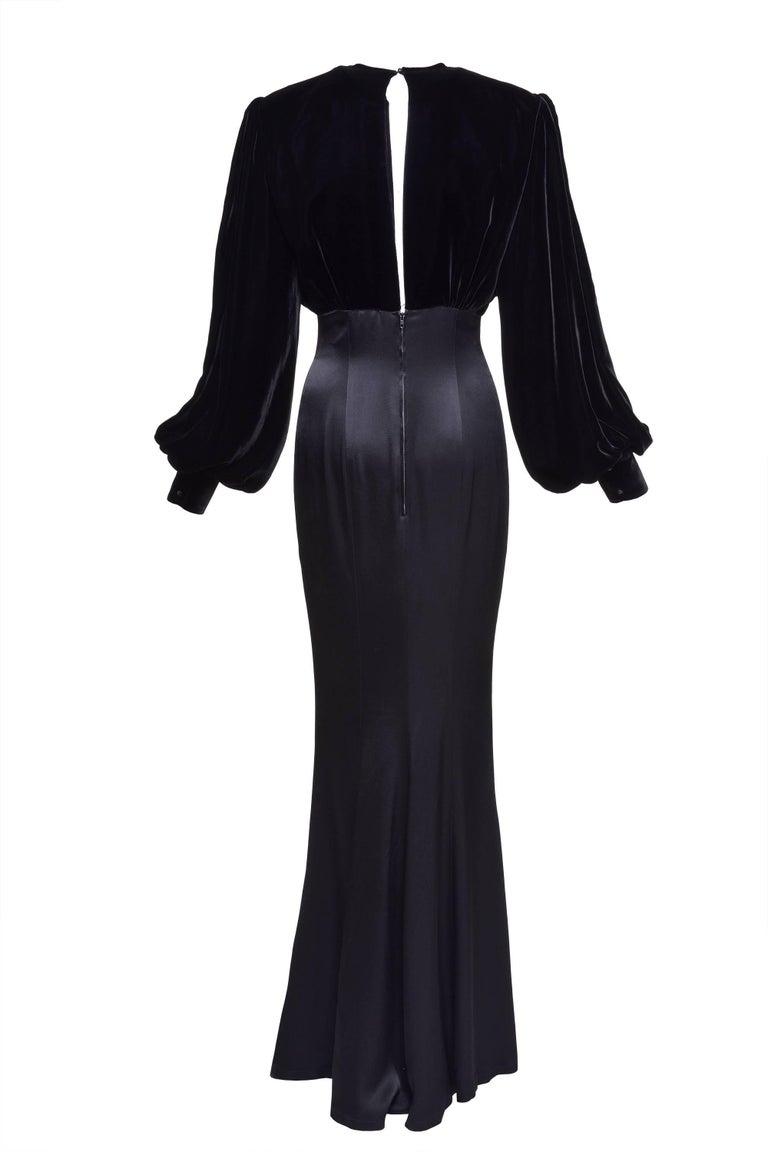 1980s thierry mugler black mermaid long evening dress at