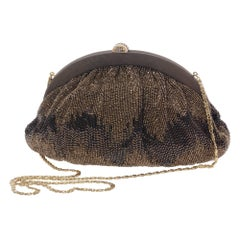 Pirovano Brown Embroidered Clutch Evening Bag, 1960s