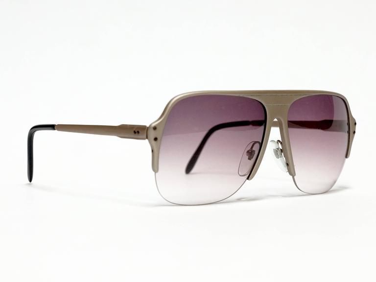 Oversized Vintage Sunglasses  1980s lamborghini half rimmed metal oversized vintage sunglasses