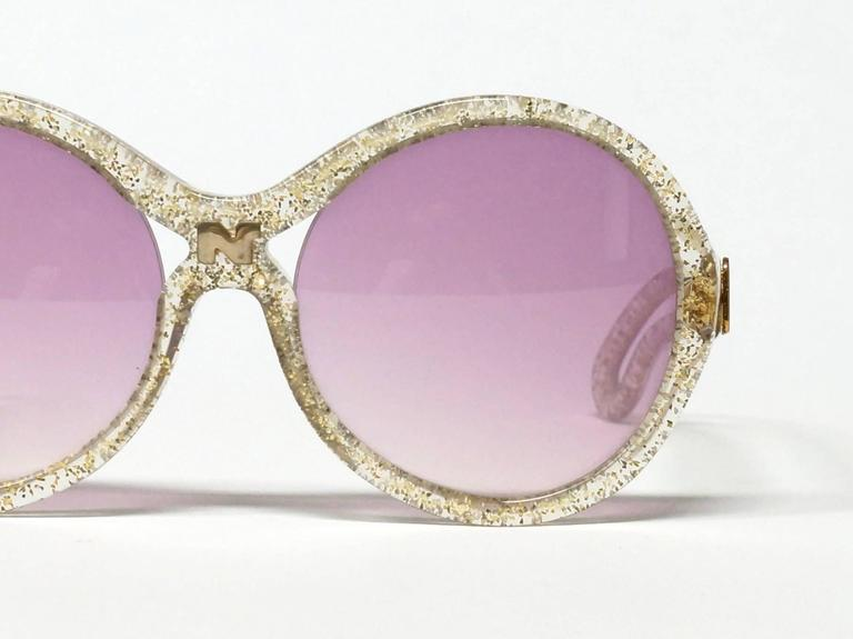1970s Nina Ricci Gold and Glitter Sunglasses  2