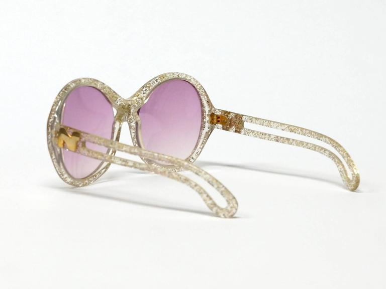 1970s Nina Ricci Gold and Glitter Sunglasses  6