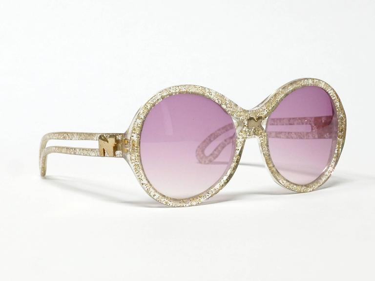 1970s Nina Ricci Gold and Glitter Sunglasses  4