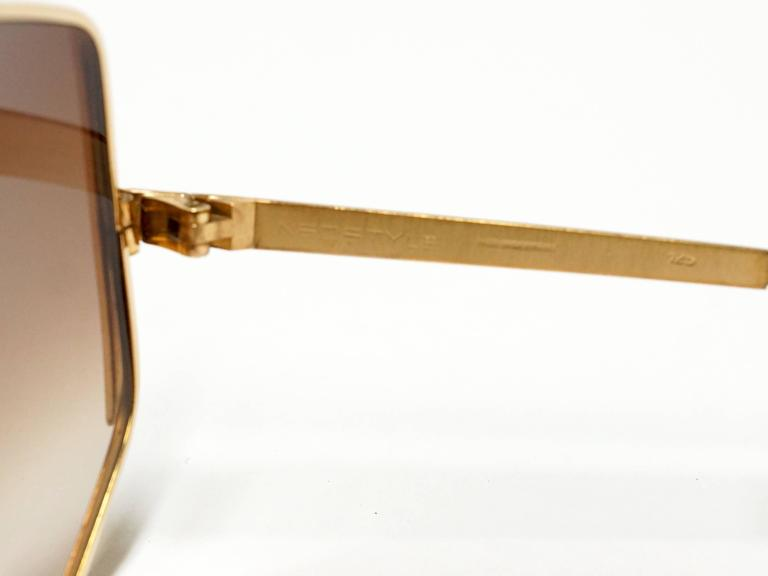 1970s Neostyle Gold Metal Vintage Sunglasses - model Tinair 5