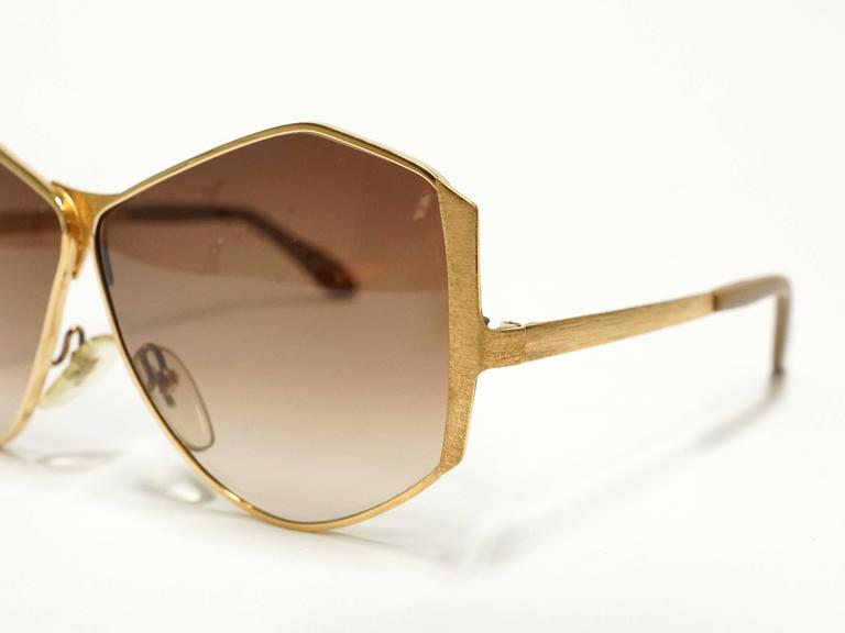 1970s Neostyle Gold Metal Vintage Sunglasses - model Tinair 8