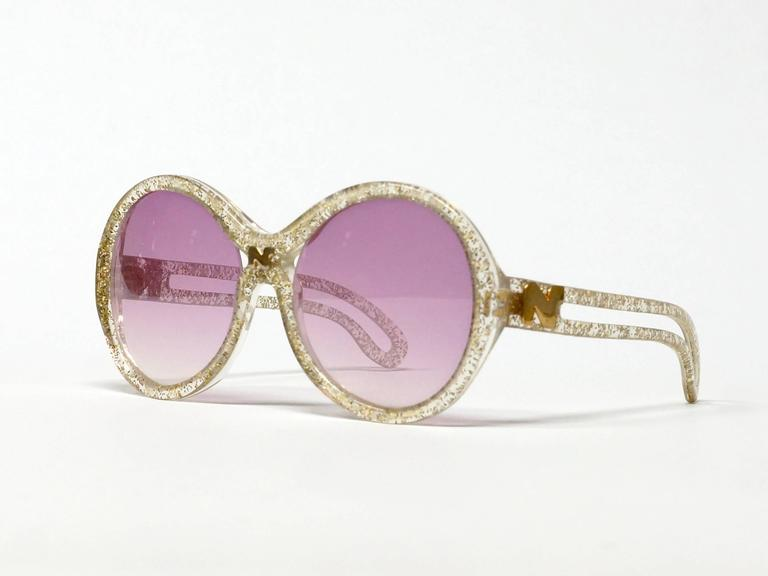 1970s Nina Ricci Gold and Glitter Sunglasses  3