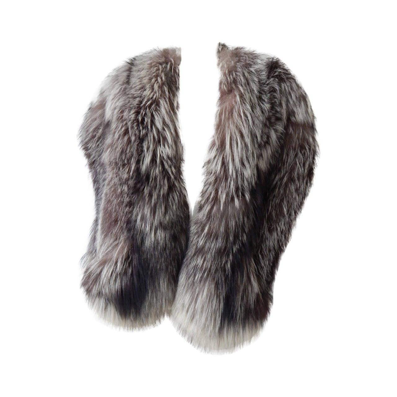 Silver fox fur stole at 1stdibs - Stoel fur ...