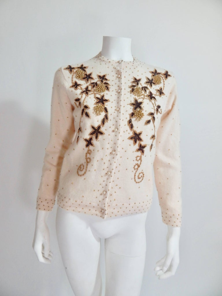 1950s Beaded Cardigan For Sale at 1stdibs