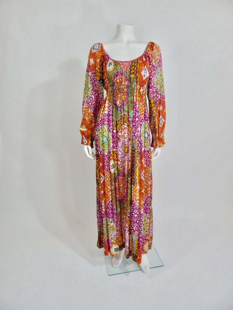Brown Bohemian Maxi Dress, 1970s  For Sale