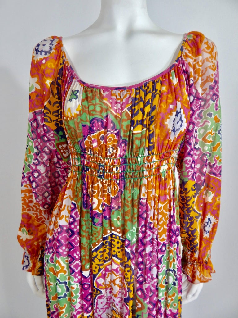 Vintage Late 1960s / Early 1970s Bohemian Maxi Dress. 100% Cotton Printed Slightly Sheer Fabric.