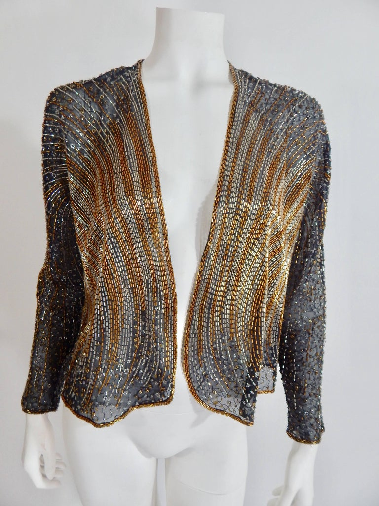 Halston Beaded Cover In Excellent Condition For Sale In Long Island City, NY