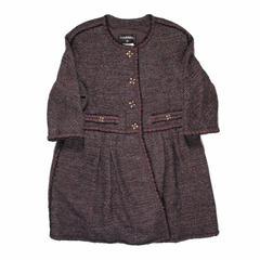 Chanel Long Jacket - US 16 - 48 - 2011 - Gripoix Glass Crystal CC Purple Tweed