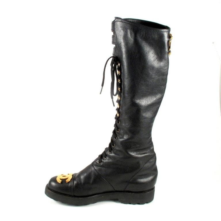 Chanel Boots 8 38 Tall Combat Vintage Black Leather Cc