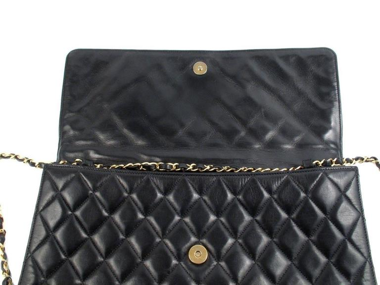 Chanel Maxi Bag Black Leather Vintage Flap Quilted Cc