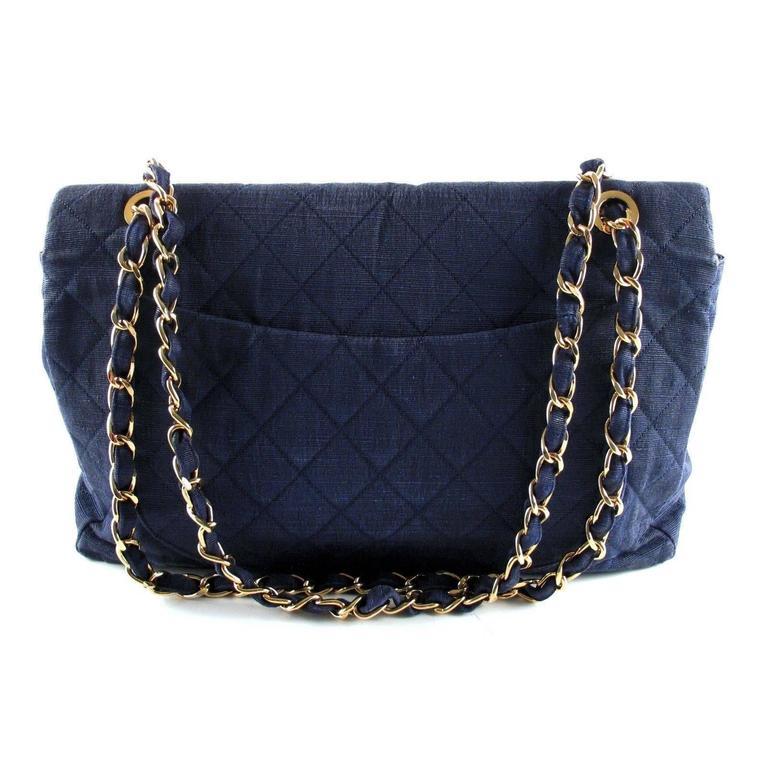 chanel xl maxi denim bag blue shoulder jumbo handbag