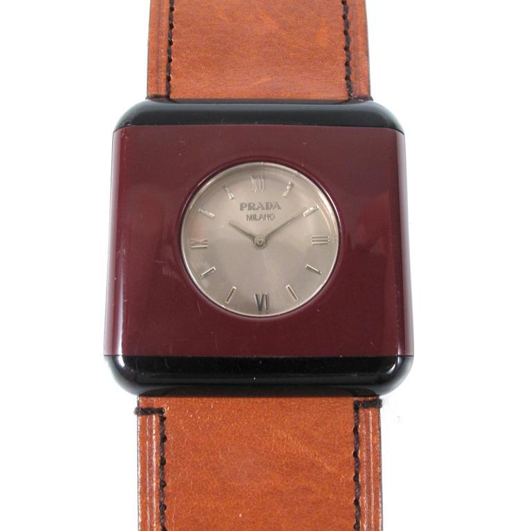 prada bracelet maroon black brown leather band