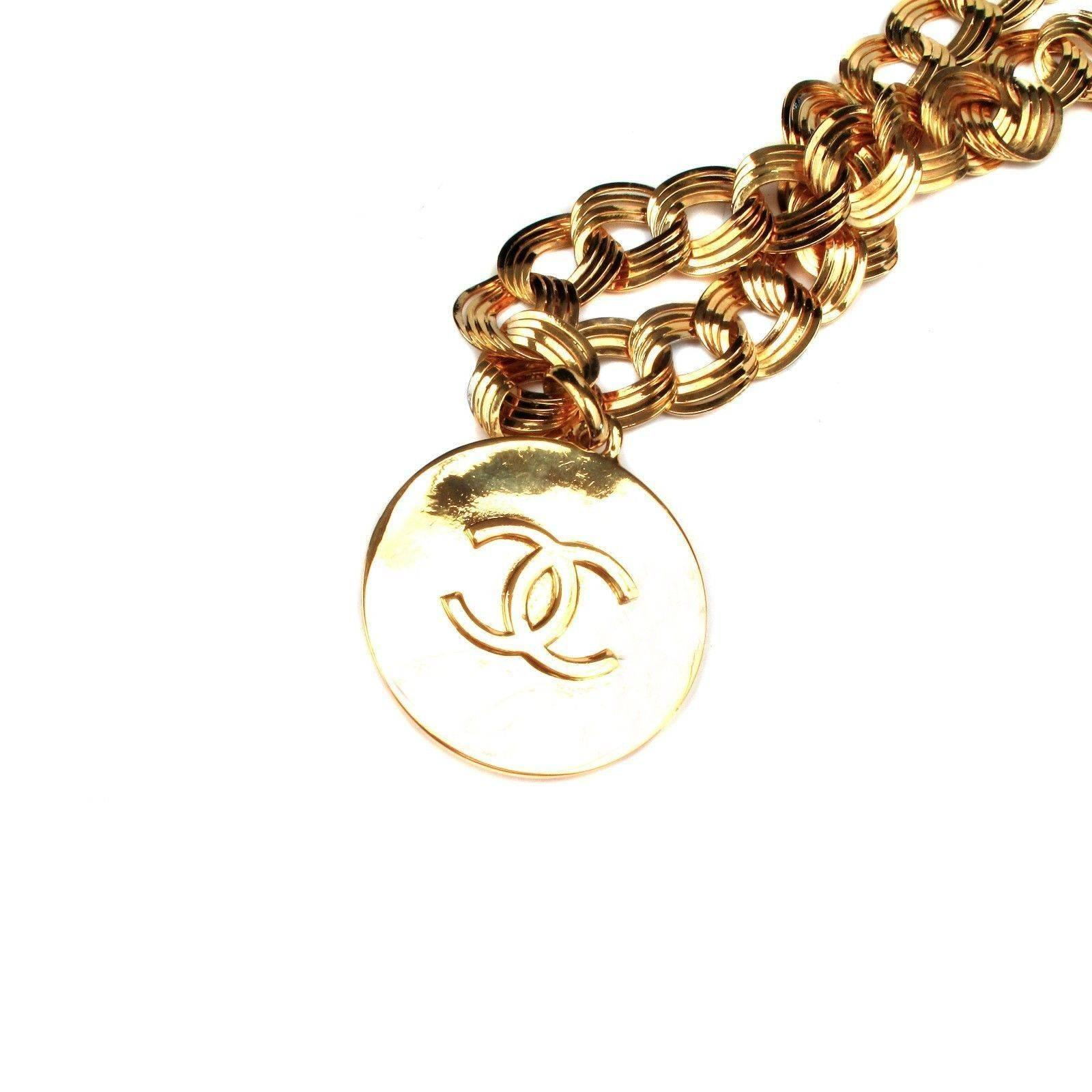 gold loved house pre vintage boutique chain product necklace of tone pendant chanel medallion belt